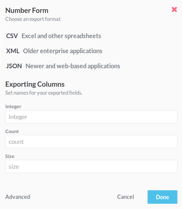 Click the Advanced Option at the bottom of the Export modal to open the column naming section.